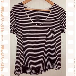 American Eagle Brown Striped Favorite Tee